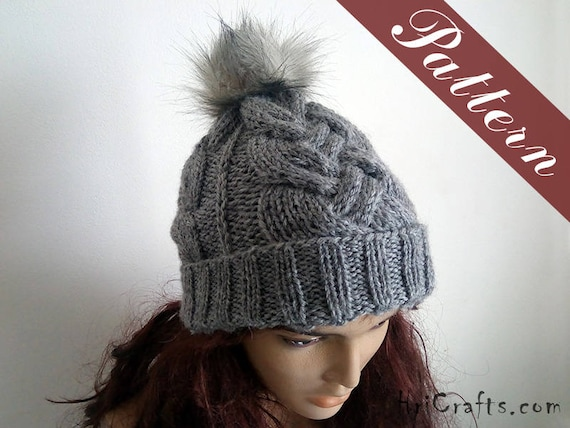 Knitted Cable Hat Pattern Knit Hat Knitting Patterns Hats Etsy