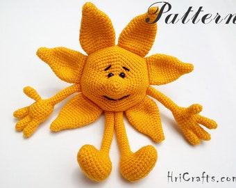 Amigurumi sun crochet pattern, sun decor, crochet sun, sun rays, sunflower, room decor, baby shower, amigurumi pattern, sun, crochet doll