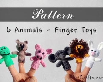 Finger puppets pattern Animal crochet pattern Bear, Pig, Bunny, Elephant, Crocodile, Lion Crochet toys Finger toys Animal ornaments Set of 6