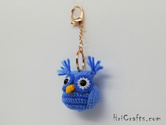 Schlüsselanhänger große EULE blau mit Namen Taschen