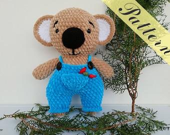 Crochet pattern koala bear, baby toy, crochet tutorial, amigurumi pattern, download pdf, stuffed animals, plushies, plush bear, crochet bear