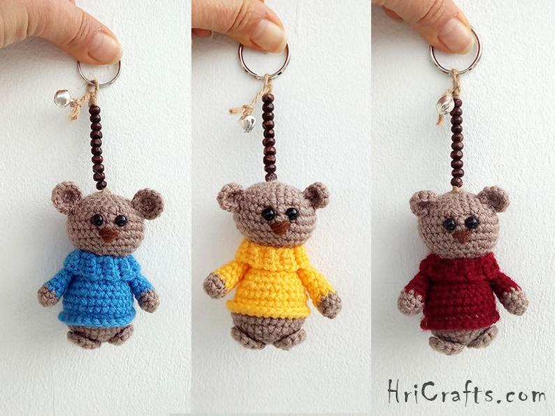 Teddy bear keychain Crochet bear amigurumi Mini bears bag  6100c3b68528