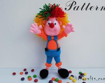Crochet pattern clown, crochet clown, baby toy clown doll, clown face, crochet tutorial, crochet toy patterns crochet toys amigurumi pattern