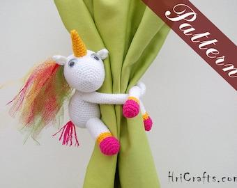 Pattern unicorn curtain tie backs, crochet unicorn pattern, curtain tiebacks amigurumi unicorn crochet doll pattern crochet pattern tutorial