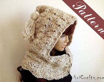 Crochet pattern Hooded Cowl Crochet hoodie pattern Button neck warmer Cowl scarf Crochet cowl pattern Button cowl pattern Hooded neck warmer