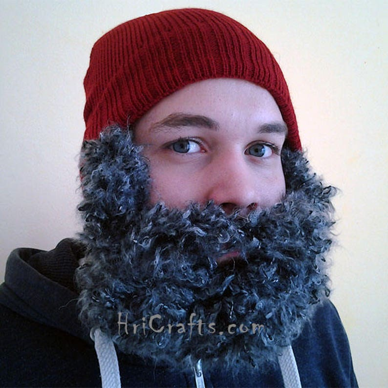 2cd2b50d10f Gray Curly Beard Hat Hand knitted Beard Beard Cap For Men