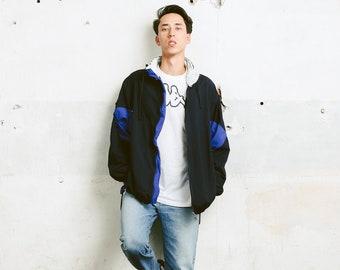 80s Windbreaker Shell Jacket . Vintage Jacket Bold 80s Jacket Festival Blue Jacket Outerwear Mens Spring Jacket . size Extra Large XL