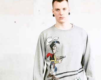 Grey LUCKY LUKE Sweatshirt . Y2K Men Sweatshirt Athleisure Wear Cartoon Comics Print Grey Sweatshirt Everyday Sweater Streetwear . sz Large