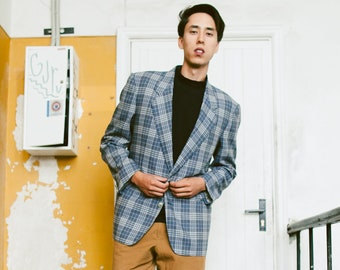 Mens YSL Check Print Blazer . Blue Plaid Jacket Vintage 80s Designer Yves Saint Lauren Sport Coat Wool Jacket . size Large