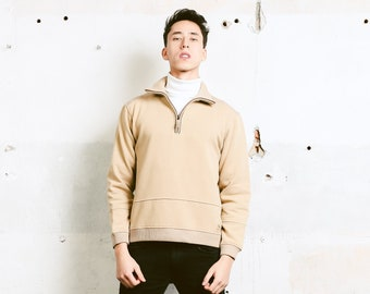 Beige Champion Sweatshirt . 90s Vintage Sweater Men Clothing Casual Pullover Zip Neck Cotton Sweatshirt 90s Athleisure Wear . size Small