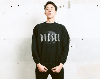 Vintage DIESEL Sweatshirt . 90s Crew Neck Black Sweater Mens Casual Sweatshirt Gift For Him Black Jumper Everyday Clothing . size Medium