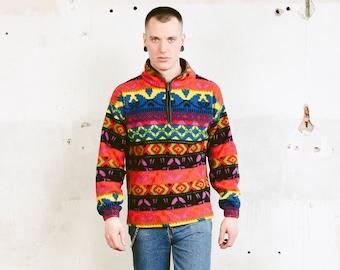 80s Multicolor Fleece Jumper . Vintage Patterned Fleece Sweater Southwestern Aztec Sweater Fitted Comfy Sweater Boyfriend Gift . size Small
