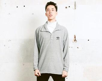 Adidas Terry Cloth Sweatshirt . Grey Fleece Sweatshirt 90s Sports Sweater Vintage Adidas Sportswear Mens Oldschool Sweatshirt . size Medium