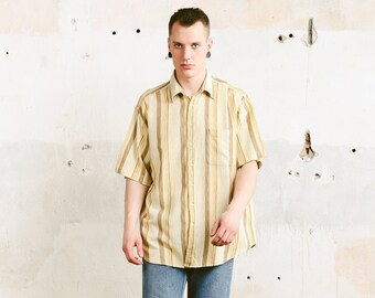 Striped Yellow Summer Shirt . Vintage Bold Mens Short Sleeve Shirt 90s Casual Shirt Vacation Shirt Boyfriend Gift . size Extra Large