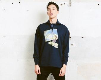 Men Retro 90s Sweatshirt . Vintage 1/4 Zip Collar Sweater Activewear Printed Cotton Sweater 90s Clothing Boyfriend Gift Idea . size Medium M