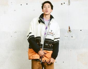 Vintage 80s Mens Outerwear Jacket . Windbreaker Aztec Print Sports Jacket Padded Light Oversized Long Jacket Coat Outerwear . size Large