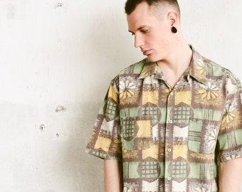 90s Short Sleeve Skater Shirt . Abstract Print Cotton Shirt Vintage Men Shirt Casual Summer Shirt Printed Shirt . size Extra Large XL