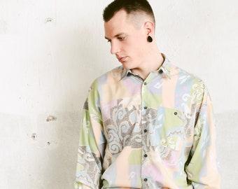 90s Patterned Pastel Shirt . Vintage Abstract Print Shirt Men Long Sleeve Shirt Casual Shirt 90s Clothing Everyday Shirt . size Medium M