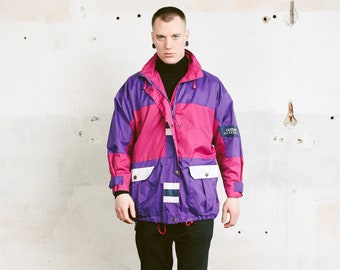 90 Bold Sailing Jacket . Vintage Men's Rain Jacket 1990s Purple Colourblock Yachting Jacket Mens Unisex Jacket Windbreaker . size Large L