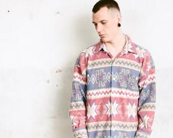 Vintage Fleece Shirt . 90s Geometric Aztec Print Jacket Shirt Mens Shaket Southwestern Shirt Soft Grunge Shirt . size Extra Large XL