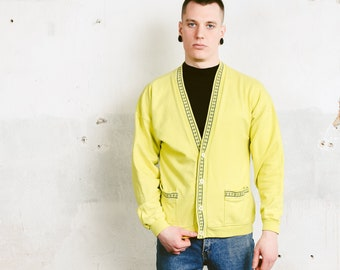 Vintage Hi-Vis Neon Yellow Cardigan . Men's 90s Bold Cotton Cardigan Button Up Sweater Gift For Man V-Neck Cardigan . size Medium