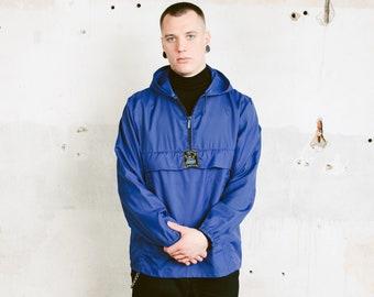 80s Hooded Anorak Jacket . Vintage Men's Blue Rain Jacket Waterproof Jacket Hipster Men Windbreaker Wind Jacket . size Medium M