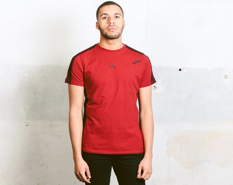 Adidas Sport T-Shirt . Vintage Adidas Sports Top Mens Red T-shirt Workout Shirt Mens 90s Tee Shirt Normcore Running Shirt . size Large L