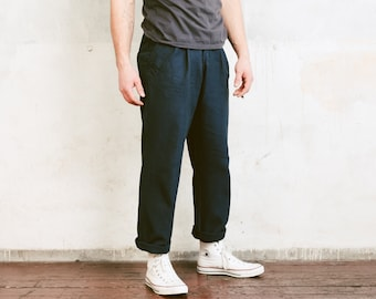 90s Navy Blue Chino Pants . Vintage Men Trousers Smart Casual Pants Classic 90s Trousers Straight Pants . size Medium
