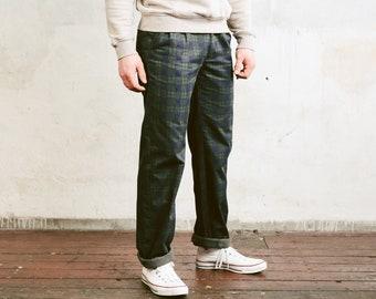 Men Checked Pants . Vintage 90s Regular Fit Check Print Pants Chino Pants Oldschool Trousers 90s Nerd Trousers Dad Pants . size Medium M
