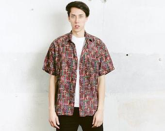 90s Patterned Men Silk Shirt . Men's Vintage 90s Silk Shirt Summer Shirt Unisex 1990s Short Sleeve Shirt Boyfriend Gift . size Medium M