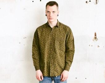 Green Patterned Shirt . Vintage Men Bird Print Shirt Long Sleeve Casual Shirt Printed Shirt Soft Shirt . size 42 Large