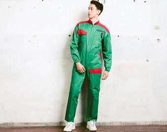 Vintage 80s Racing Coveralls . Car Mechanic Workwear Vintage Green Engineer Pantsuit Men's Work Overalls Full Cover Jumpsuit . size Medium M