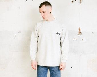 Vintage 90s CHIEMSEE Grey Sweatshirt . Men's Vintage Minimalist Sweater Round Neck Sweater Surfing Sweater Unisex Casual Top . size Large