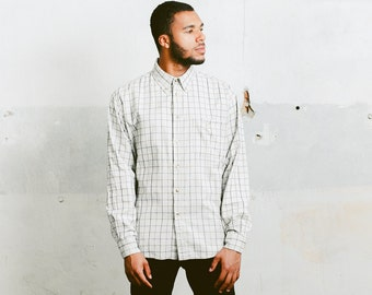 90s Windowpane Plaid Shirt . Men's 1990s Monochrome Shirt Button Down Casual Cotton Shirt Long Sleeve Minimalist Top. size Medium M