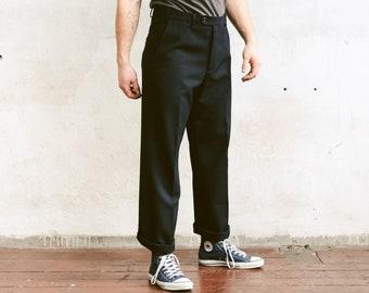 Vintage Navy Blue Smart Pants . Formal Trousers Mens 90s Pants Chinos Tuxedo Pants Formal Clothing Dark Blue Suit Pants . size Large L