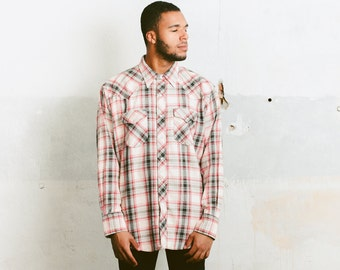 Men's 70s Plaid Shirt . Vintage Cowboy Outfit Button Down Thick Shirt Lumberjack Retro 70s Shirt Boyfriend Gift . size XL Extra Large