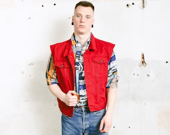 Red Denim Vest . Vintage Sleeveless Jean Jacket Distressed Denim Jacket Unisex Jean Vest Classic Trucker Vest . size 42 Large L