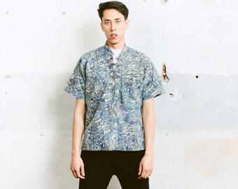 Men's Hippie Shirt . Vintage Ethnic Top 90s Cotton Shirt Fish Print Band Collar Shirt Mens Hippie Top 90s Retro Clothing . size Medium M