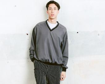 Vintage Golf Sweater . Men's 90s Sweatshirt Sports Sweater Grey Sweater Athelisure Activewear Windbreaker Sweater. size Large L