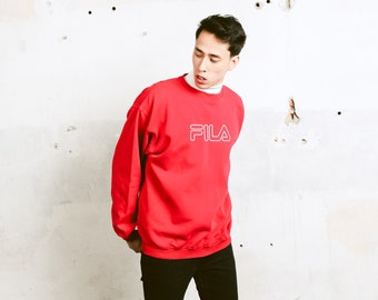 Vintage FILA Logo Sweatshirt . Men Red Sweatshirt Casual Pullover Minimalist Top Everyday Clothing 1990 Activewear . size XL Extra Large