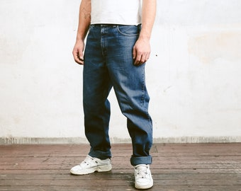 Levis 504 Denim Pants . Vintage Wide Jeans Medium Wash Blue Denim Pants Dad Jeans Casual Trousers Faded Jeans . size W38 L34
