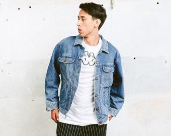 90s Denim Jacket . Men's Distressed Trucker Jacket Medium Wash 90s Jean Jacket Blue Grunge Jacket Outerwear Boyfriend Gift . size Medium M