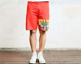 Men Surfer Shorts . Vintage 90s Printed Beach Shorts Swim Trunks Bold Vacation Shorts Floral  Swimwear Beachwear . size Small