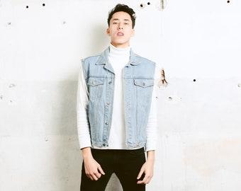 90s Light Wash Denim Vest . Vintage Sleeveless Jean Jacket 90s Grunge Vest Denim Gilet Faded Trucker Vest Hipster Punk Vest . size Small