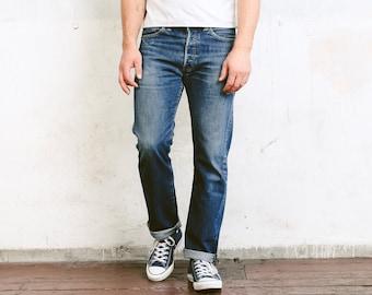 Levis 501 Dark Wash Jeans . Vintage Jeans Blue Denim Pants Dad Jeans Casual Trousers . size W32 L32