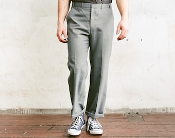 Grey Formal Trousers . Mens 90s Pants Smart Pants Oldschool Chinos Tuxedo Dress Pants Formal Clothing Suit Ankle Pants . size Large