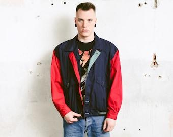 Vintage Men Windbreaker Jacket . 90s Jacket Unisex 1990s Outerwear Men Clothing Spring Jacket Blue Bomber Jacket . size 50 Large to XL