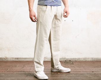 Grey Linen Trousers . Pleated Waist Mens 80s Pants Cotton Dad Pants Oldschool Chinos Nerd Everyday Clothing Dad Gift . size Medium M