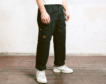 Vintage Black Utility Pants . Men Military Style Work Trousers Chore Pants 80s Hunter Trousers Mens Cargo Pants . size Medium M