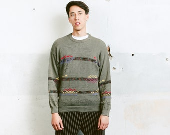 Green Patterned Sweater .  Men's Retro Jumper Print Geometric 90s Clothing Unisex Clothing Knit Sweater Boyfriend Gift . size Small S
